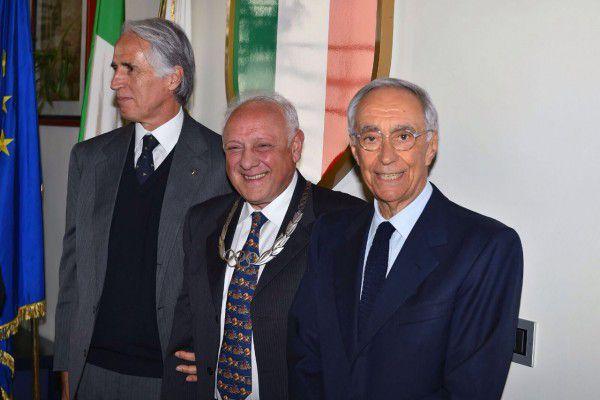 Consolo con Malagò e Carraro alla premiazione di Roma